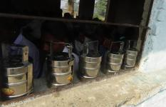 Tiffin boxes lined up in Prem's school